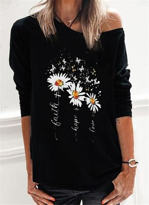 Floral Oblique Neckline Long Sleeve Casual T-shirts (101923972)