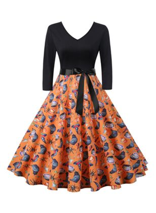 Halloween Floral Skater V-Neckline X-line Dress (111852687)