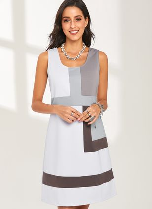 Basic Color Block Tunic Camisole Neckline Shift Dress (1286904)