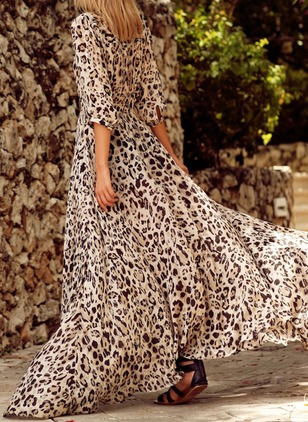 Animal Half Sleeve Maxi A-line Dress