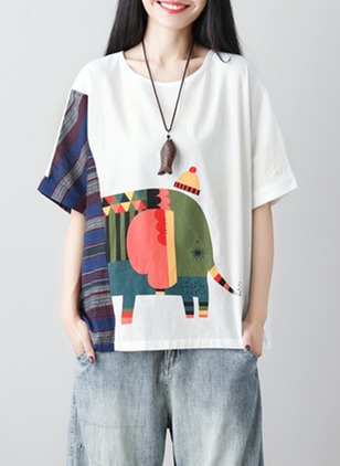 Linen Color Block Round Neck Half Sleeve T-shirts