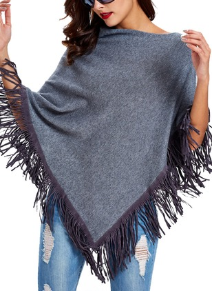 Cotton Blends Others Solid Cape Tassel Sweaters