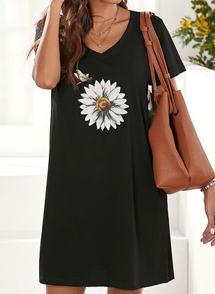 Casual Floral Tunic V-Neckline Shift Dress (4541433)