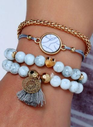 Casual Round Gemstone Beaded Bracelets (1417121)