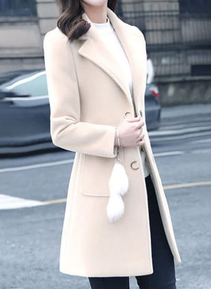 Long Sleeve Lapel Pockets Coats (146678483)