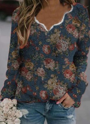 V-Neckline Floral Casual Regular Shift Sweaters (146679213)