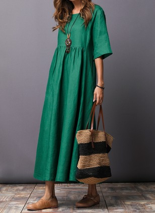 Cotton Solid Half Sleeve Maxi Shift Dress