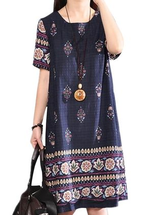 Casual Floral Tunic Round Neckline Shift Dress (4265501)