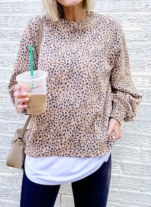 Leopard Round Neck Long Sleeve Casual T-shirts (122029788)