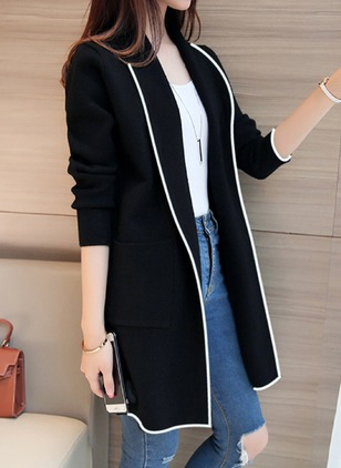 Long Sleeve Collar Pockets Coats