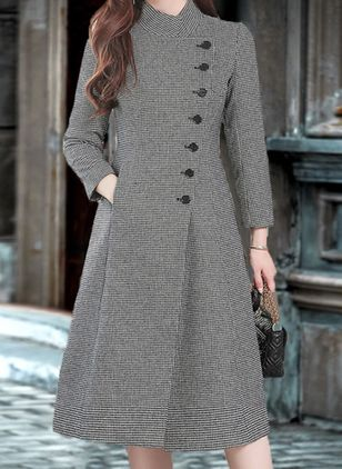Long Sleeve High Neckline Buttons Pockets Coats (110711257)