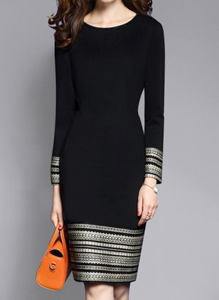 Geometric Long Sleeve Knee-Length Sheath Dress