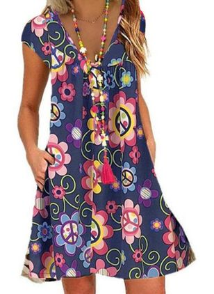 Casual Floral Tunic V-Neckline Shift Dress (4457504)
