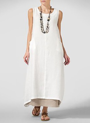 Solid Tank Sleeveless Maxi Shift Dress