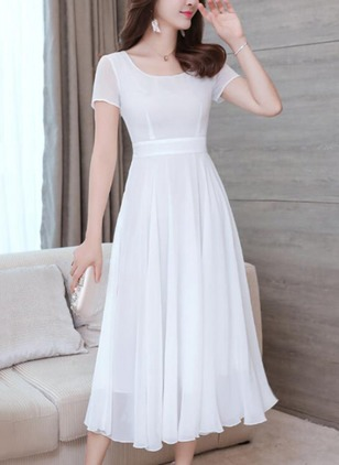 Solid Ruffles Short Sleeve Midi A-line Dress