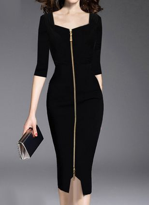 Elegant Solid Pencil Square Neckline Bodycon Dress (101326385)
