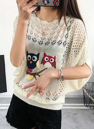 Polyester Animal Round Neck Half Sleeve Casual T-shirts