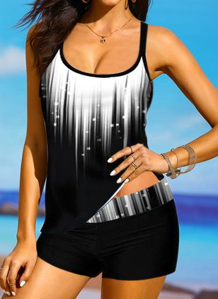 Polyester Color Block Tankinis Swimwear (146949718)