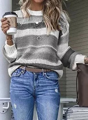 Round Neckline Color Block Casual Loose Regular Shift Sweaters