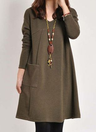 Casual Solid Tunic V-Neckline A-line Dress (107561395)