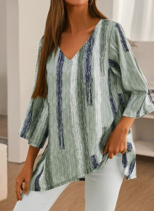 Stripe Casual V-Neckline 3/4 Sleeves Blouses (1544131)