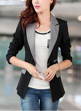 Polyester 3/4 Sleeves Collar Others Coats Coats
