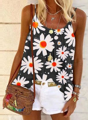 Floral Casual Camisole Neckline Sleeveless Blouses (4265318)