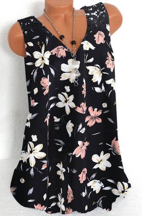 Floral Casual V-Neckline Sleeveless Blouses (147244339)