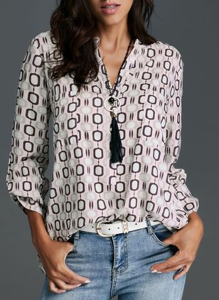 Geometric Casual V-Neckline Long Sleeve Blouses