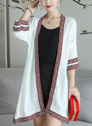 Polyester 3/4 Sleeves Collarless Coats