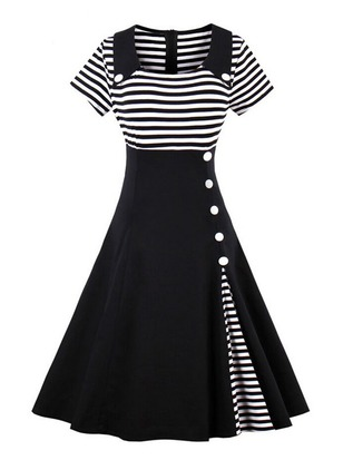 Stripe Buttons Short Sleeve Midi A-line Dress
