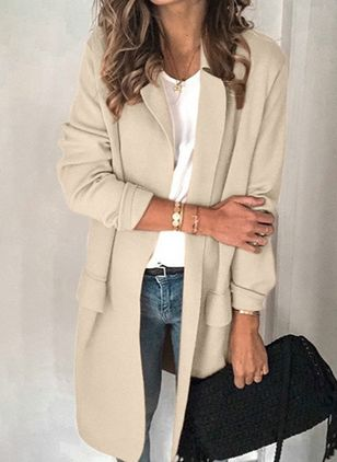 Long Sleeve Lapel Pockets Coats (1516389)