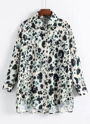 Plus Size Floral Casual Collar Long Sleeve Blouses