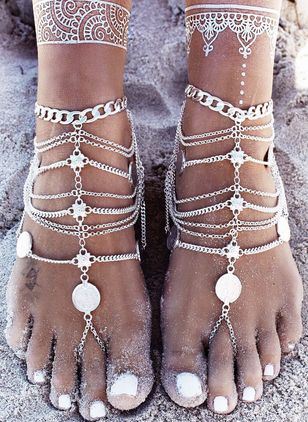 Casual No Stone Geometric Anklet (4458809)