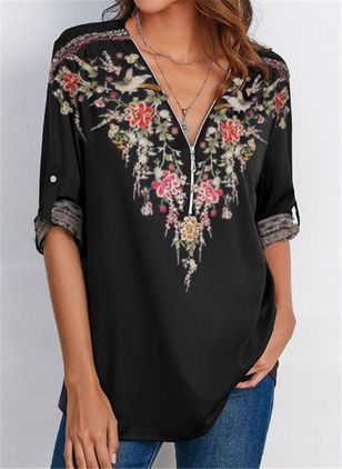 Floral Casual V-Neckline Long Sleeve Blouses (109555930)