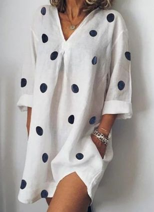Arabian Polka Dot Tunic V-Neckline Shift Dress (1539433)