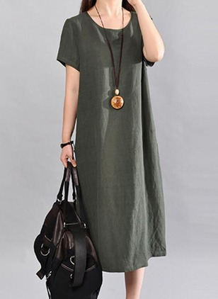 Solid Short Sleeve Midi A-line Dress