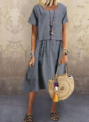 Casual Stripe Tunic Round Neckline Shift Dress (1514529)