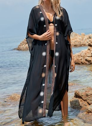 Chiffon Geometric Cover-Ups Swimwear (111607850)