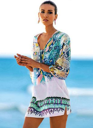 Polyester Color Block Floral Cover-Ups Swimwear
