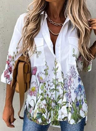 Floral Casual Collar 3/4 Sleeves Blouses (147143463)