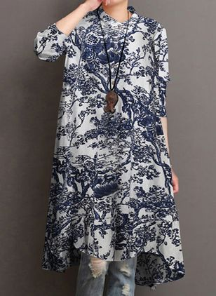 Casual Floral Tunic Round Neckline Shift Dress (147137705)