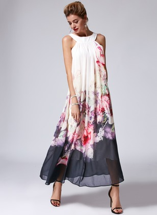 Chiffon Floral Sleeveless Maxi Shift Dress (1029250)