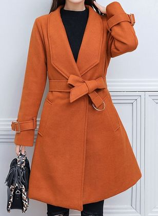 Long Sleeve Lapel Sashes Pockets Coats (107519708)