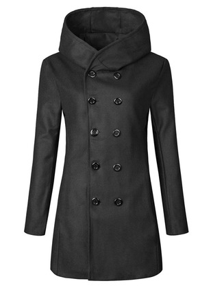 Long Sleeve Hooded Buttons Peacoats