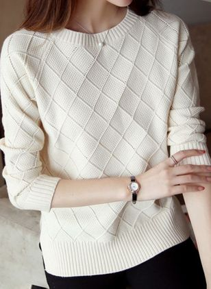 Round Neckline Solid Casual Loose Regular Shift Sweaters (111109864)