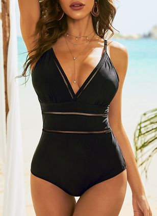 Polyester Solid One-piece Swimwear (146988551)