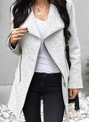 Long Sleeve Lapel Zipper Coats Jackets