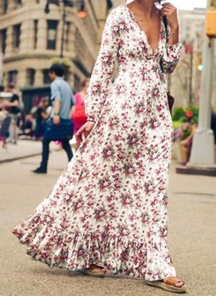 Arabian Floral V-Neckline Maxi X-line Dress (1029277)