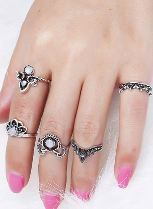 Round Crystal Rings 5pcs